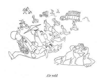 Air Raid Art Print by Saul Steinberg