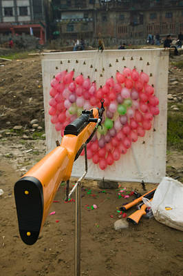 Air Rifle And Valentines Day Target Art Print by Panoramic Images