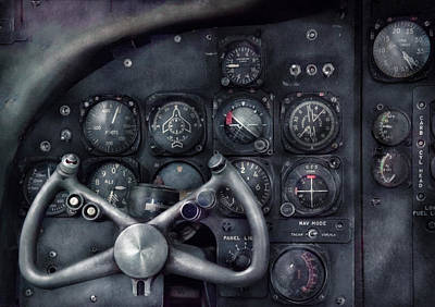 Steering Photograph - Air - The Cockpit by Mike Savad
