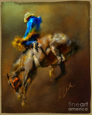 Mixed Media - Airborne Cowboy by Andrea Auletta