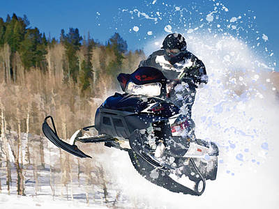 Airborne Snowmobile Art Print by Elaine Plesser