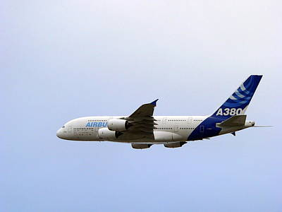 Photograph - Airbus A380 Departing Los Angeles International Airport by Jeff Lowe