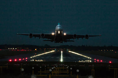 Photograph - Airbus A380 Take-off At Dusk by Tim Beach