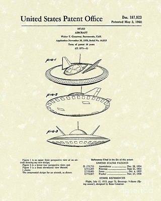 Drawing - Aircraft 1960 Patent Art by Prior Art Design