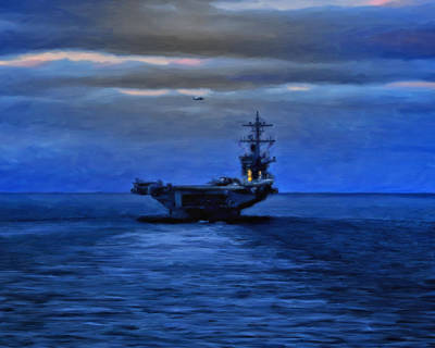 Aircraft Carrier Art Print by Michael Pickett