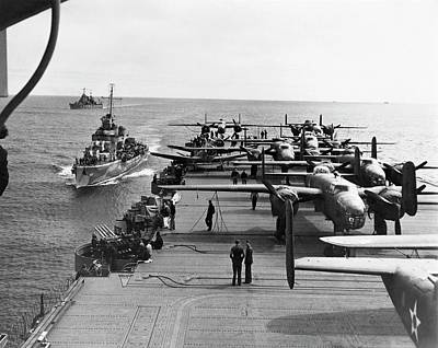 Mitchell Photograph - Aircraft Carrier Uss Hornet by Us Air Force