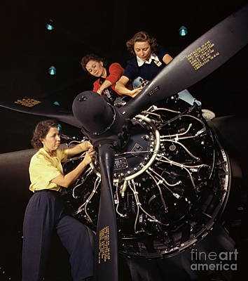 Installation Art Photograph - Aircraft Engine Installation 1942 by Padre Art