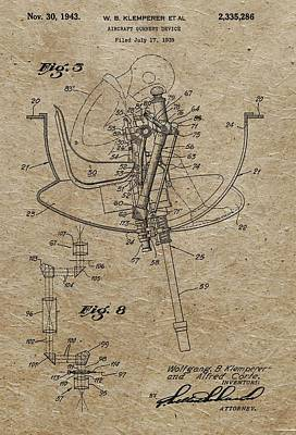 Aviator Mixed Media - Aircraft Gunnery Device Patent by Dan Sproul