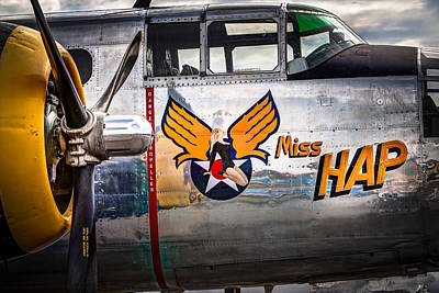 Art Print featuring the photograph Aircraft Nose Art - Pinup Girl - Miss Hap by Gary Heller