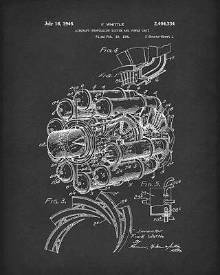 Aircraft Propulsion 1946 Patent Art Black Art Print
