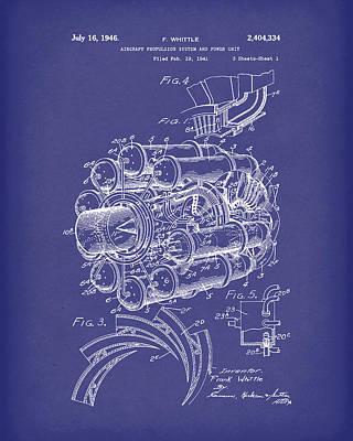 Aircraft Propulsion 1946 Patent Art Blue Art Print by Prior Art Design