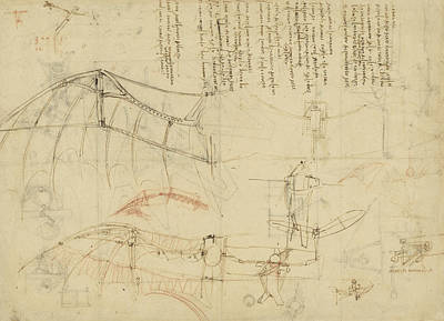 Plans Drawing - Aircraft The Machine Has Been Reduced To The Simplest Shape by Leonardo Da Vinci