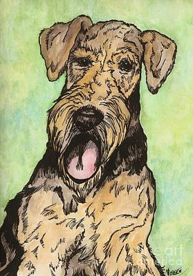 Airedale Ink Art Print