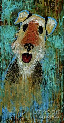 Friendly Painting - Airedale Terrier by Genevieve Esson