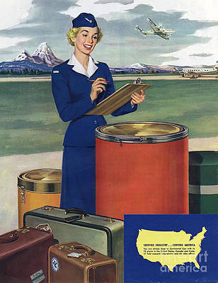 50s Drawing - Airlines  1950s Usa Mcitnt Aviation by The Advertising Archives
