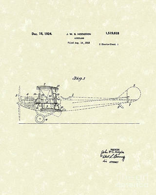 Airplane Drawing - Airplane 1924 Patent Art  by Prior Art Design