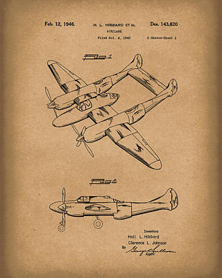 Drawing - Airplane 1946 Patent Art Brown by Prior Art Design