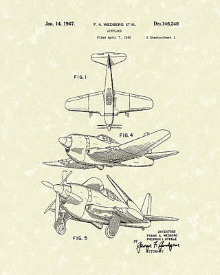 Drawing - Airplane 1947 Patent Art by Prior Art Design