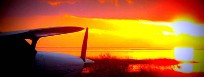 Photograph - Airplane An Sunset by Sheri McLeroy