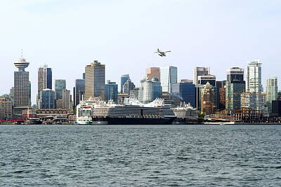 Photograph - Airplane And Vancouver Skyline by Devinder Sangha