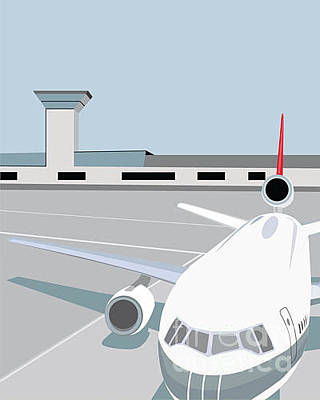Shadow Wall Art - Digital Art - Airplane At Terminal by Jibjibdesigns