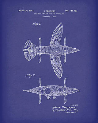 Drawing - Airplane Bird Body Design 1943 Patent Art Blue by Prior Art Design