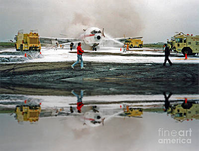 Photograph - Airplane Crash Drill Landscape Altered Version by Jim Fitzpatrick