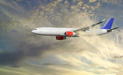 Passenger Plane Photograph - Airplane Flying Into Clouds Close-ups by Christian Lagereek