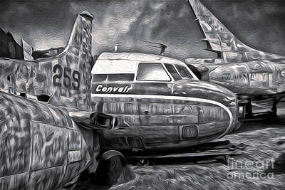 Airplane Graveyard - Black And White Art Print by Gregory Dyer