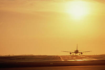 Airplane On Runway Art Print by Panoramic Images