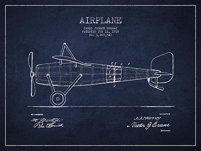 Airplane Patent Drawing From 1918 Art Print by Aged Pixel