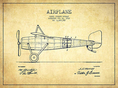 Airplane Patent Drawing From 1918 - Vintage Art Print by Aged Pixel