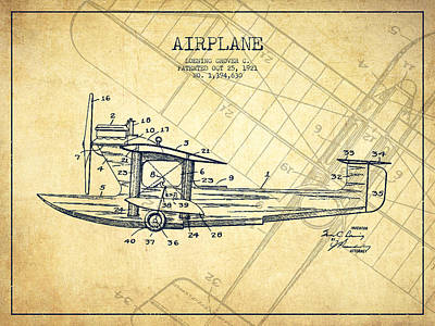 Airplane Drawing - Airplane Patent Drawing From 1921-vintage by Aged Pixel