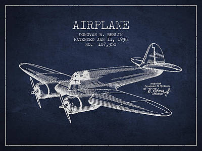 Airplane Patent Drawing From 1938 Art Print by Aged Pixel