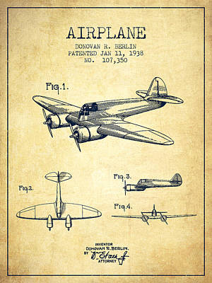 Transportation Digital Art - Airplane patent Drawing from 1938-Vintage by Aged Pixel