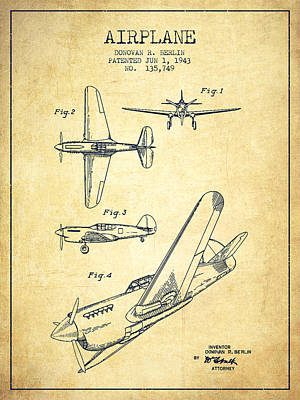 Transportation Digital Art - Airplane patent Drawing from 1943-Vintage by Aged Pixel