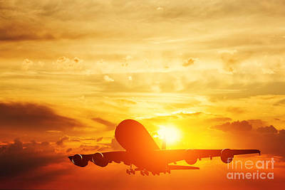 Passenger Photograph - Airplane Taking Off At Sunset by Michal Bednarek