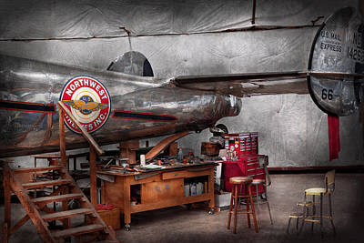 Airplane - The Repair Hanger  Art Print by Mike Savad