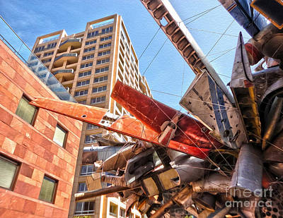 Airplane Wreckage Sculpture Outside Museum Of Contemporary Art - 02 Art Print by Gregory Dyer