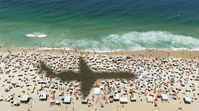 Photograph - Airplanes Shadow Over A Crowded Beach by Buena Vista Images