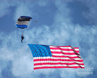 Photograph - Airshow Flag Jumper Cloudy Day by Debra Thompson