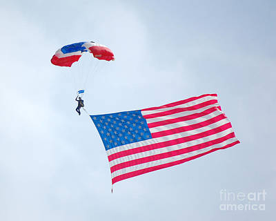 Photograph - Airshow Flag Jumper Overcast Day by Debra Thompson