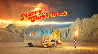 Airstream Burning Man Christmas Print by Rick Thompson