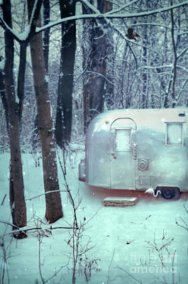 Country Snow Photograph - Airstream Trailer In Snowy Woods by Jill Battaglia
