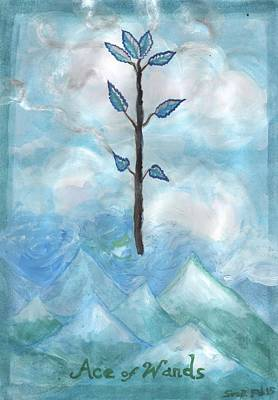 Ace Of Wands Painting - Airy Ace Of Wands by Sushila Burgess