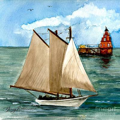 Painting - Aj Meerwald Passing Ship John Shoal Lighthouse by Nancy Patterson