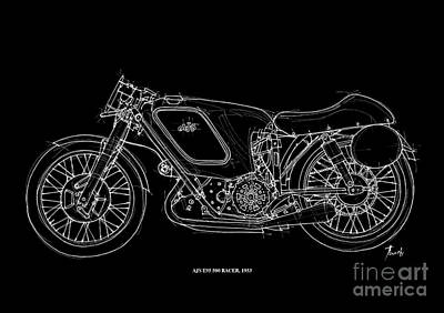 White On Black Drawing - Ajs E95 500 Racer 1953 by Pablo Franchi