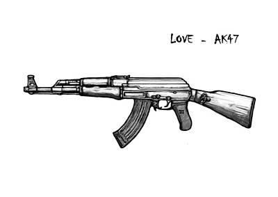 Abstract Pop Drawing - Ak - 47 Gun Drawin Art Poster by Kim Wang