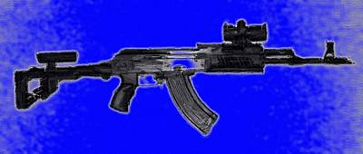 Ak-47 Digital Art - Ak47 Blue by Michael Fascitelli