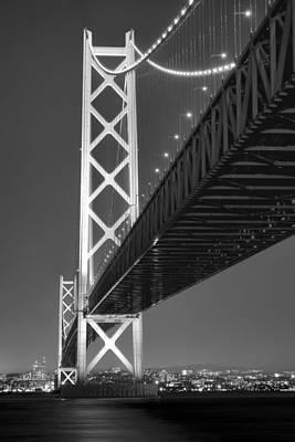 Akashi Kaikyo Super Bridge At Night Art Print by Daniel Hagerman